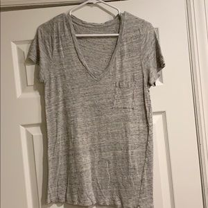 J Crew Linen deep V-neck T-shirt